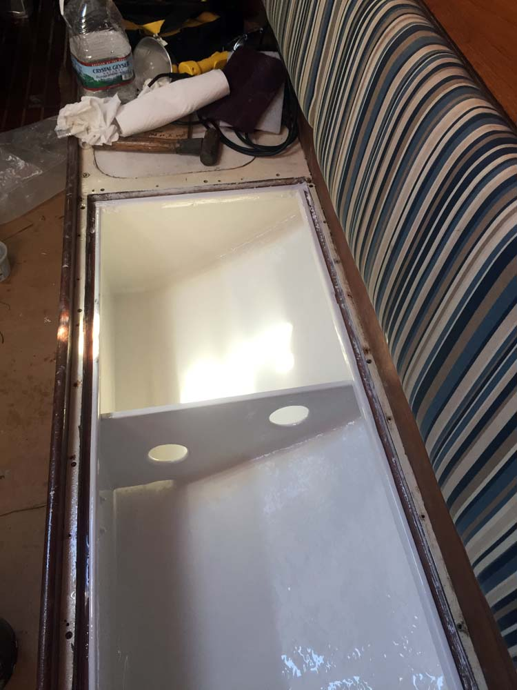 Integral watertank coated in LiquaTile 1172 potable water coating by NSP for the sailboat watertank
