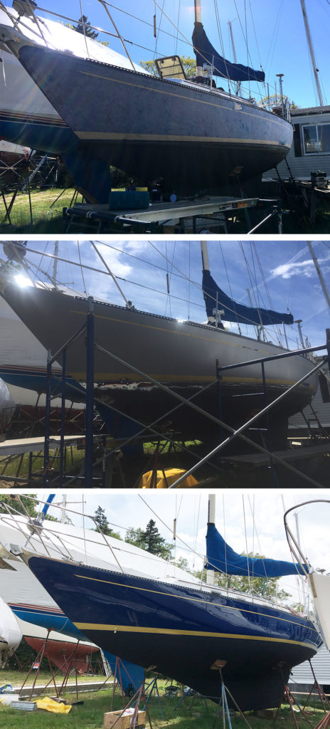 Before and after pictures of Alexseal primer and topside paint in Aristo Blue